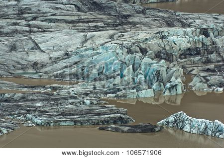 Melting of glacial ice during summer at Vatnajokull glacier