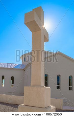 White Stone Cross With Croatian Interlace Or Wattle Over The Krbava Field In Croatia