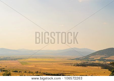 Rural Landscape With Late Afternoon Sky And Farmland