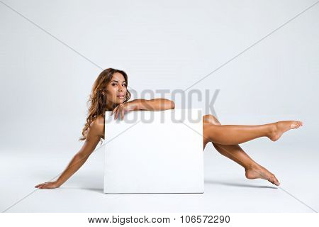Creative concept for girl with blank paper