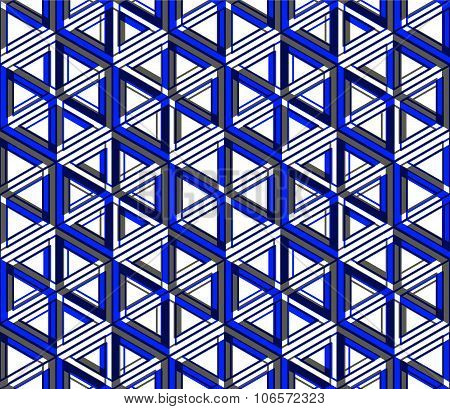 Colored Abstract Interweave Geometric Seamless Pattern. Bright Illusory Backdrop