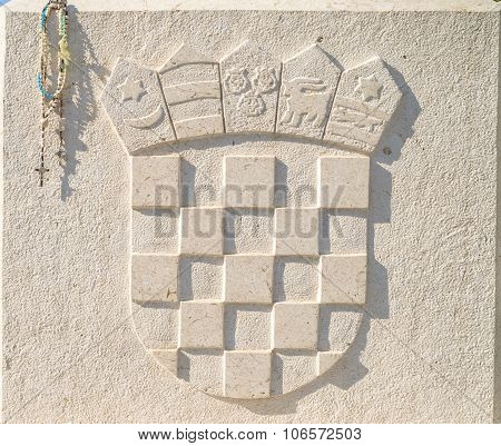 Coat Of Arms Of Croatia In Stone, With Rosary Beeds