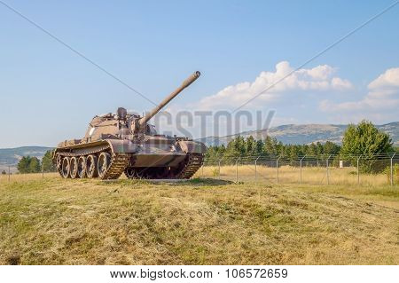 A War Tank On A Field
