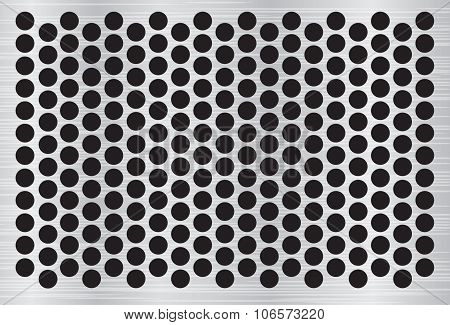 Silver abstract metal background with holes and light reflection vector illustration