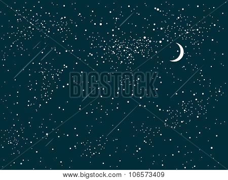 Vector background. Starry night sky. Stars, moon, comet, sky, night.