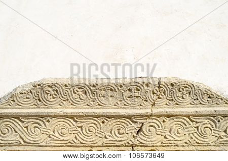 Ancient Historic Medieval Fragment Of A Croatian Wattle Pattern Or Interlace