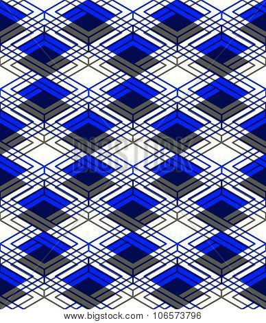 Endless Colorful Symmetric Pattern, Graphic Design. Geometric Intertwine Optical Composition, Clear