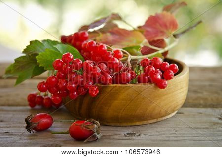 Red Viburnum Berries In Wooden Bowl On The Table With Two Rose Hips