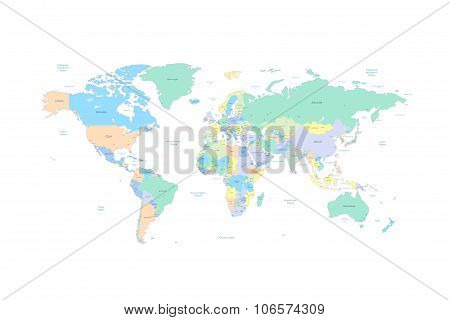 World map with countries and cities listed in Russian. With the seas and oceans. Vector illustration