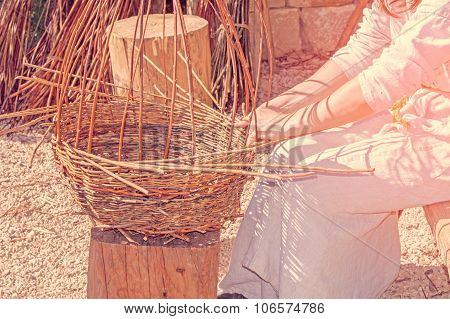 Basket Weaving Or Making By A Medieval Dressed Woman, Outdoors