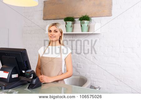 Professional florist working in a flower shop