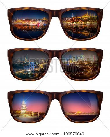 Sunglasses with beautiful panorama of Istanbul