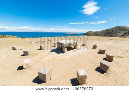 Inca's Sacrifice Table On Island Of The Sun, Bolivia