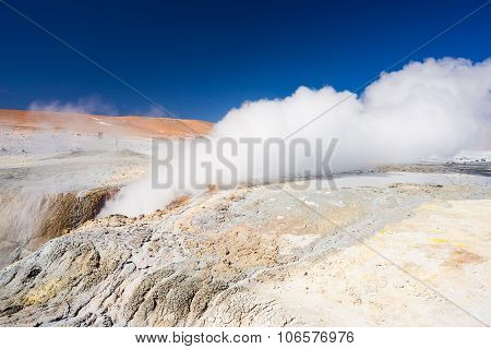 Steaming Geyser On The Andes, Bolivia