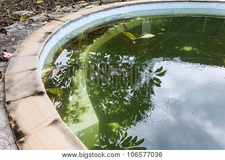 Abandoned swimming pool in home, dirty or uncleaned