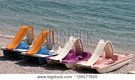 Colorful pedalos on Hvar beach