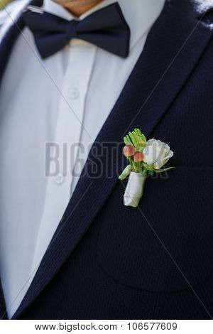 Beautiful Wedding Boutonniere On Suit Of Groom