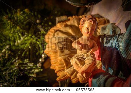Artistic Vintage Christmas Nativity Scene With Baby Jesus