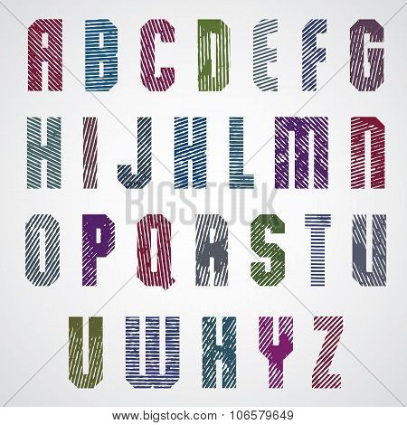 Grunge Colorful Rubbed Upper Case Letters, Decorative Font On White Background.
