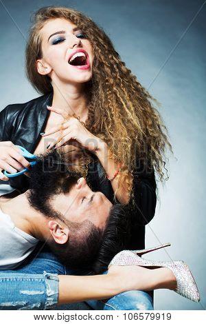 Woman Cutting Beard
