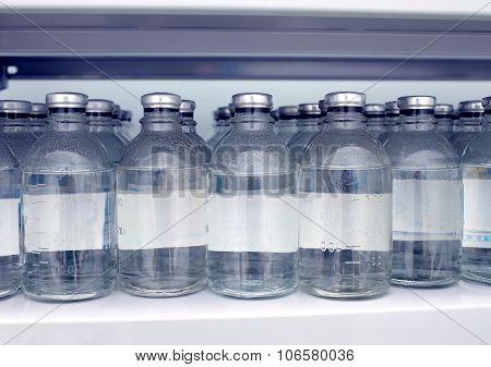 Warehouse Bottles Of Saline Solution In The Hospital