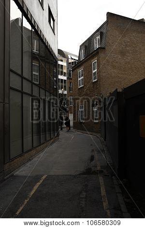 Narrow Street Between The Buildings In London