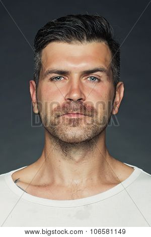 Shaved Man With Bristle