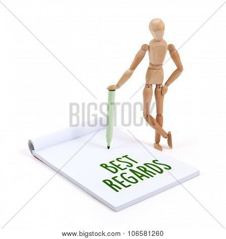 Wooden Mannequin Writing - Best Regards