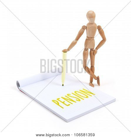 Wooden Mannequin Writing - Pension