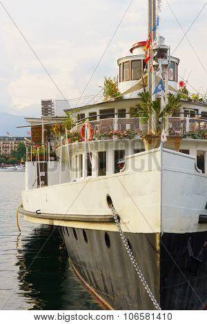 GENEVA, SWITZERLAND - SEPTEMBER 14, 2014: CGN paddle steamer on Lake Geneva. Lake Geneva General Navigation Company is a public Swiss company operating boats on Lake Geneva