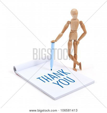Wooden Mannequin Writing - Thank You