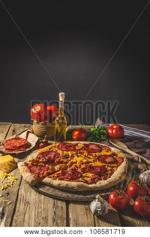 Rustic Salami Pizza With Cheddar Cheese And Chorizo