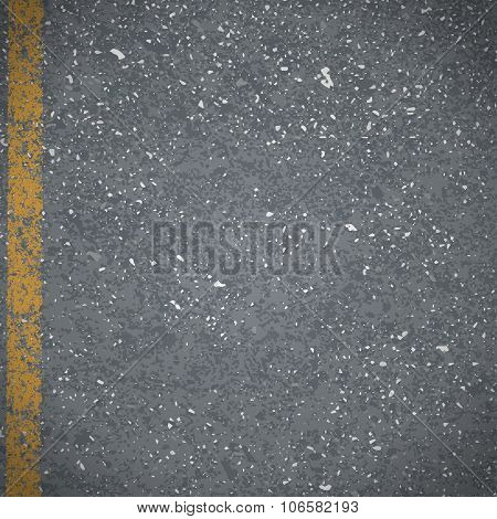 Asphalt Abstract Vector Road Pavement With Cracked Yellow Marking