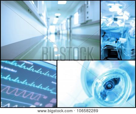 Medical Background Set Of Blurry Photos