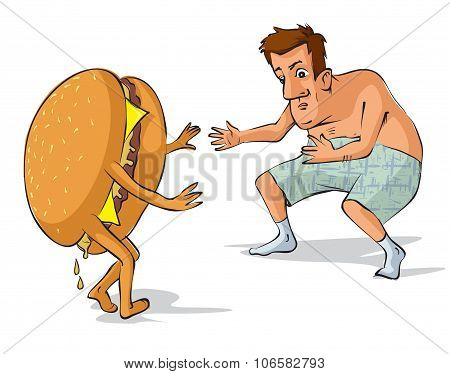 Fat Evil Man  Catches A Hamburger