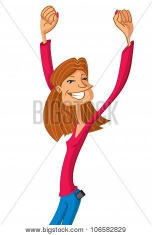 Happy Girl Raising Her Hands Up