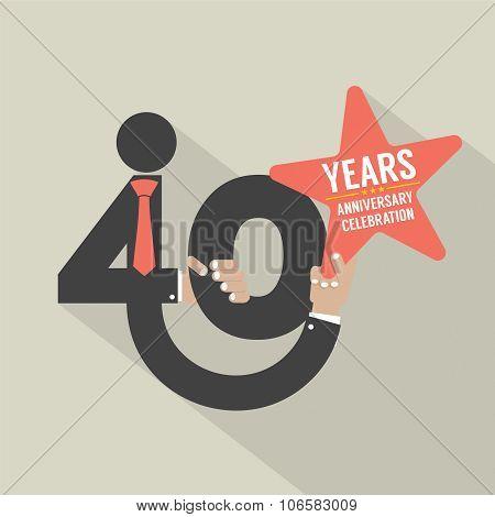 40 Years Anniversary Typography Design.