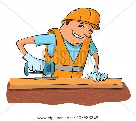 Builder With Electric Saw