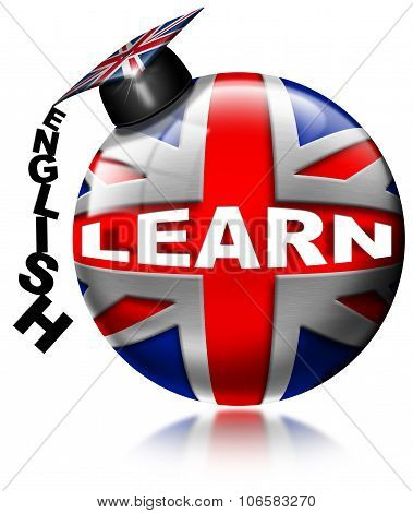 Learn English - Uk Flag And Graduation Hat