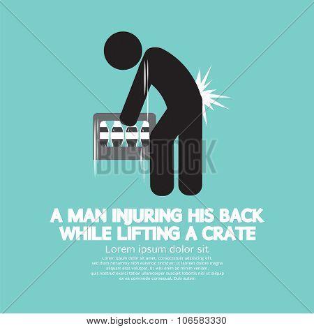 Man Injuring His Back Symbol.