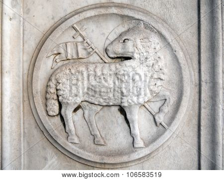 Old Historic Detail Of A Stone Bass Relief With Lamb Of God