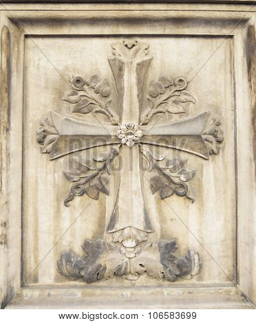 Old Stone Bass Relief Detail Of A Ornamental Cross