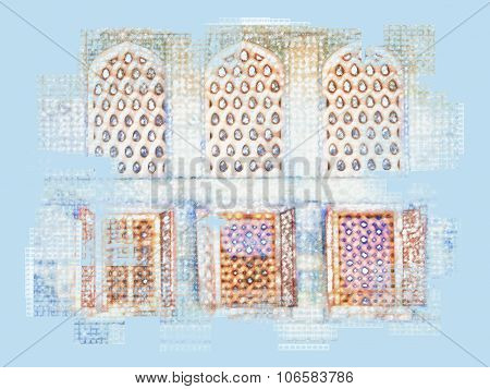 Abstract Oriental Windows Illustration