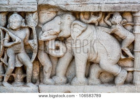 Elephant And A Warrior As A Details Of Massive Stone Bas-relief On The Front Of Historical Wall Of H
