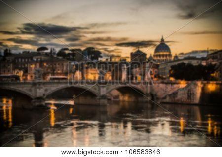 Artistic Dark Blur Edit Of The View Of Vatican City, Rome At Susnet