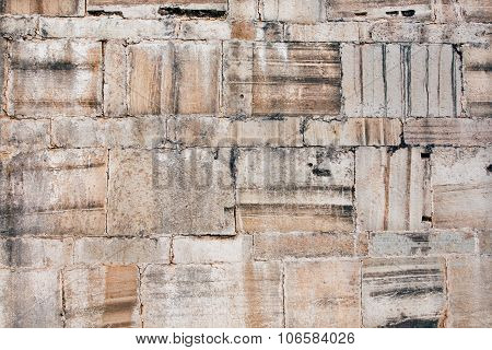 Texture Of Stone Blocks In The Wall Of An Historical Building. Old Rock Bricks