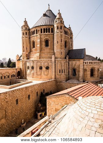 Dormition Church And Abbey On Mount Zion In Jerusalem
