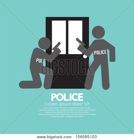 Policemen In Front Of The Door Symbol.
