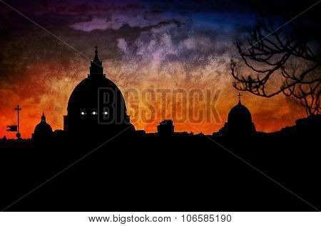 Artistic Dome Silhouette Of St Peter's Basilica In Vatican, Rome, At Sunset