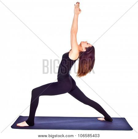 Beautiful woman exercising virabhadrasana or warrior pose  . White background.